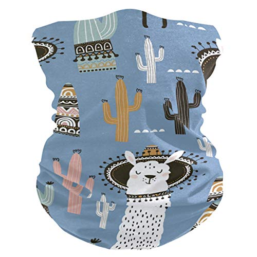 Damen Stoff-Gesichtsmaske, multifunktional, Bandanas, Schnittmuster, Unisex, Alpaka, Kaktus, Stoffmaske, Muster, bedruckbar, für Herren und Damen, Kopfbedeckung, Kopftuch, waschbar, Innentasche