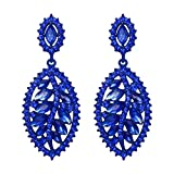 EVER FAITH Women's Marquise Crystal Leaf Drop Costume Party Prom Pierced Dangle Earrings Royal Blue Blue-Tone