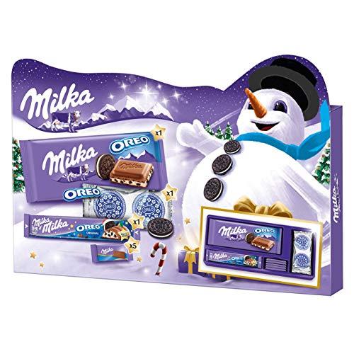 Milka & OREO Weihnachtsgeschenkbox 1 x 182g, Mix aus 4 verschiedenen Süßigkeiten