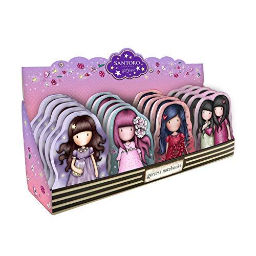 SANTORO Gorjuss Sparkle & Bloom Display Cuadernos de Muñecas 941GJD02 - Catch A Falling Star, Cherry Blossom, Love Grows & You Can Have Mine