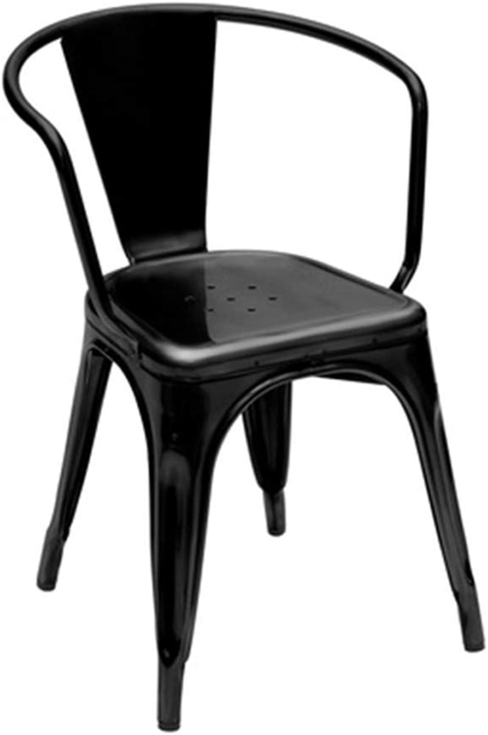 Dining Chair, Wrought Iron Chair, Desk Chair, Home Computer Chair, Metal Nordic Chair, Creative Chair (color   Black)