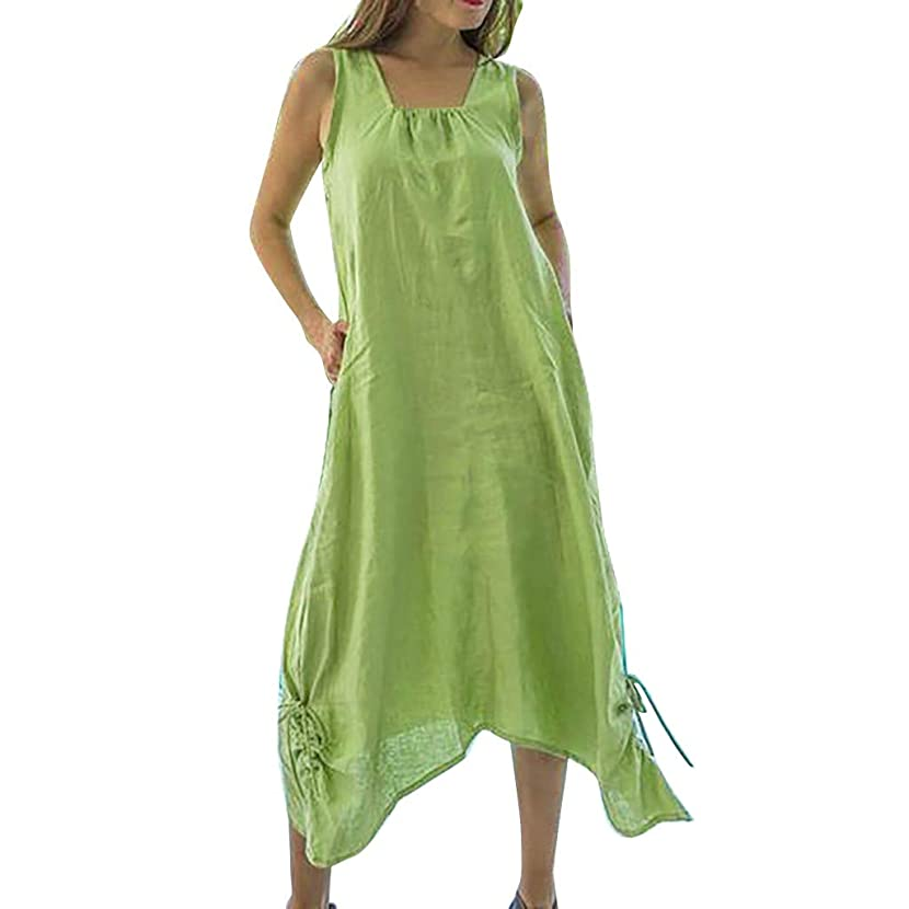 Women Dresses Plus Size Linen Sleeveless Pure Color Bandage Beach Summer Maxi Dress with Pockets NUF