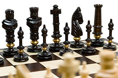 Juego de ajedrez de madera exclusivo de lujo ROYAL LUX, 65 x 65 cm tallado a mano con anillos de latón