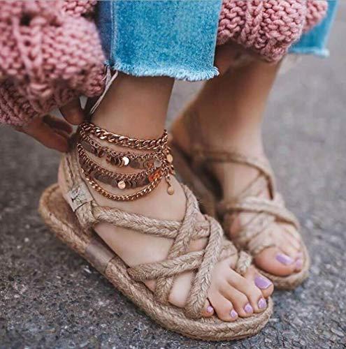 UMOOIN Vintage römische Sandalen 2020 Hanf-Seil-Webart Flache Sandalen Weiblich Straw Bottom-Strand-Schuhe,Khaki,38