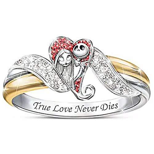 LINYIN 2PCS The Nightmare Before Christmas Girl Ring Halloween True Love Eternal Diamond Ring Creative Lega Party Ring 7号 Ring