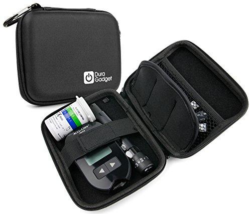 DURAGADGET Etui Rigide Compact pour diabétiques: Transport du Lecteur de glycémie, bandelettes et lancettes - en Noir - Etui Vendu Vide