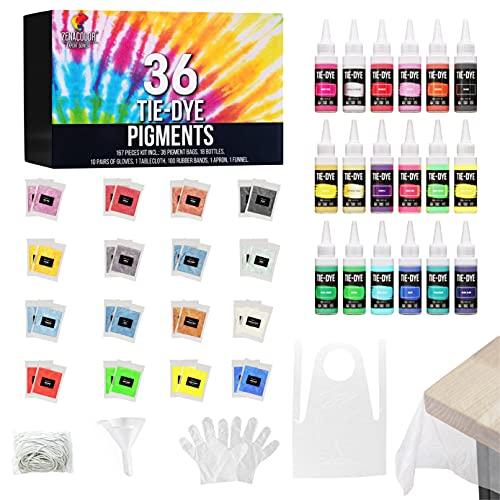 Kit De Pintura Para Tela - Kit Diy Pintura Textil - 167 Piezas, 36 Colorante En Polvo - Kit Tie Dye Tinte Ropa - Múltiples Tejidos Y Técnicas - Kit Manualidades Adultos Diy - 36 Colores