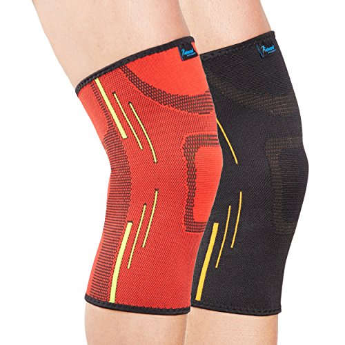 Actesso Sports Knie-Stützstulpe - Elastische Kompression zur Schmerzlinderung während sportlicher Aktivitäten und nach Verletzungen - zur Benutzung beim Sport (Klein (30-35), Rot)