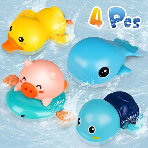 Niwoed Bath Toys for 3 4 5 6 7 8 Years Old Boys Girls Kids Gift, Wind-Up Bathtub Baby Bath Toys for Toddlers 1-3, Swimming Pool Water Toys for Kids Ages 4-8 Birthday Gifts(4 Pcs Set)
