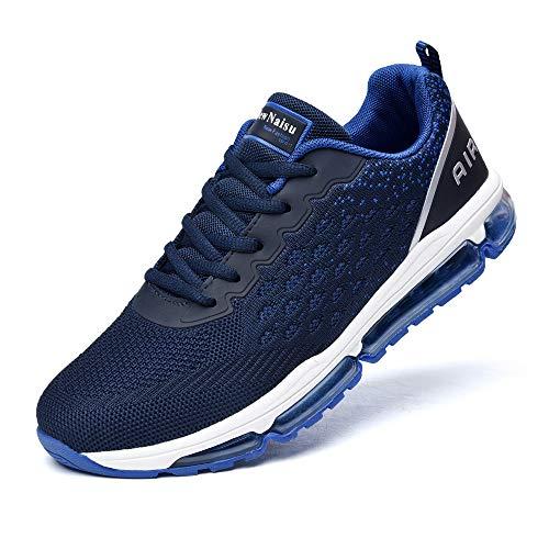 NewNaisu Herren Damen Sportschuhe Unisex Laufschuhe mit Luftpolster Turnschuhe Profilsohle Sneakers Leichte Schuhe Royal Blau 39