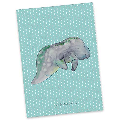 Mr. & Mrs. Panda kaart, uitnodiging, Ansichtkaart Manateeënkoeling - Kleur Turquoise Pastel