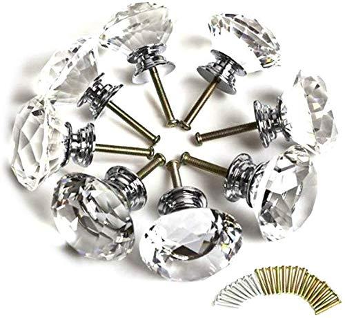 Auped 10 x 30 mm Kristall Acrylglas Diamantschliff Türgriffe Küchenschrank Schubladenknöpfe mit Schraube für die Inneneinrichtung.