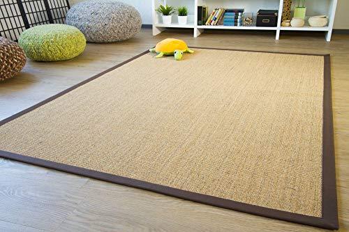 Sisal Teppich Brazil mit Bordüre Farbe natur dunkel braun Premium Qualität 100% Sisal, Größe: 80x160 cm