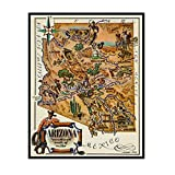 IUYTRF Mapa de Arizona México Clásico Vintage Retro Kraft Cartel decorativo Mapas Hogar Bar Carteles Lienzo de pared -50X70 cm Sin marco 1 Uds