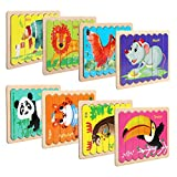NEWSTYLE Rompecabezas de Madera, Infantiles Animal Pattern Juguete de Madera Puzzle, 8 PCS Doble Cara en Forma de Tira Jigsaw Educación y Aprendizaje Rompecabezas Juguetes (Animal)
