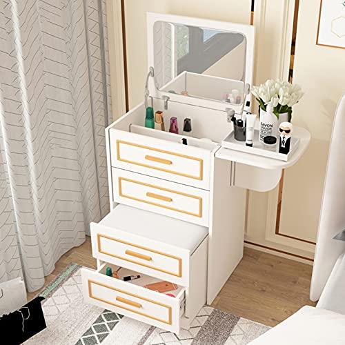 QLIGHA Mesa de Maquillaje Multifuncional Dormitorio Moderno tocador de Madera cajones gabinete de Almacenamiento con Espejo de tocador y Taburete Acolchado, Mango de Metal Dorado
