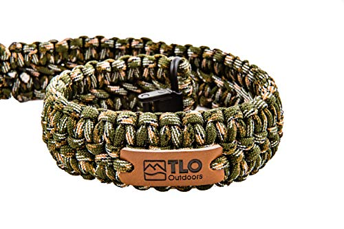 TLO Outdoors Paracord Gun Sling - Adjustable 2-Point Paracord Sling Rifle, Shotgun Crossbows (550 Rated Nylon, Kernmantle Paracord, Extra Wide, Green CAMO)