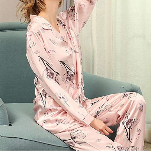 WALNUT Pijamas de Seda Genuina Conjuntos de Mujeres Primavera Mangas largas Elegantes Floral Noble Pijamas (Color : B, Size : X-Large)