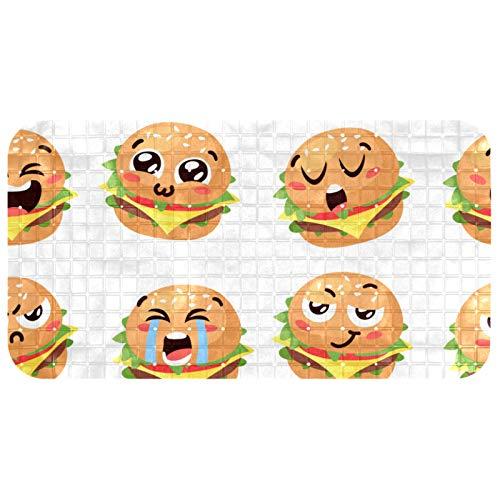 FURINKAZAN Funny Burger Emoji Badewannen-Duschmatte, rutschfeste Badewannenmatte Badvorleger mit Abflusslöchern