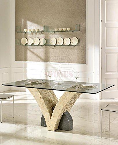 Stones Papillon Tavolo da Pranzo, Sabbia/Grigio, 180x100x75 cm