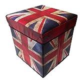 Kapark Caja de almacenamiento otomana acolchada para asiento de hogar, muebles de dormitorio, Londres, París, Reino Unido (bandera de Reino Unido)