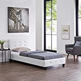 CARO-Möbel Polsterbett Glasgow Bettgestell 90 x 200 cm Einzelbett Designbett mit Strasssteinen inklusive Lattenrost Lederimitat in weiß - 2