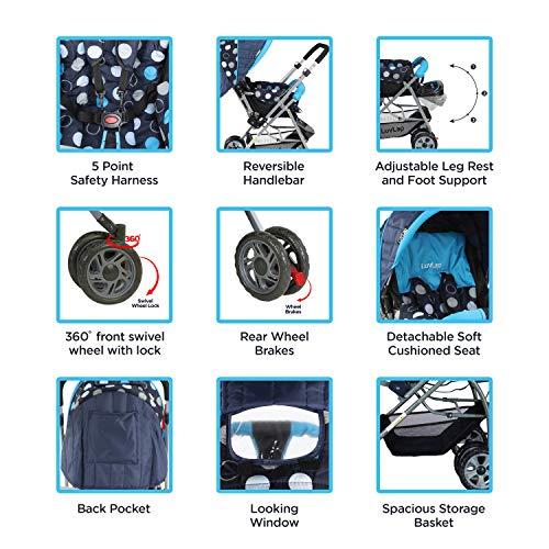 LuvLap Sunshine Stroller/Pram, Easy Fold, for Newborn Baby/Kids, 0-3 Years (Sky Blue) 3