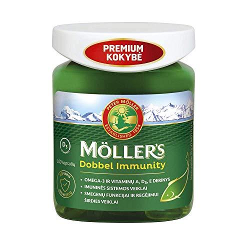 Moller's Dobbel Immunity 100 capsules Oméga 3 de poissons sauvages et vitamines A, D3, E
