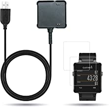 X1 for Garmin Vivoactive Charger, Replacement Charging Cradle Dock Synchronous Data and 2Pcs Free HD Tempered Glass Screen Protector for Garmin Vivoactive GPS Smart Watch