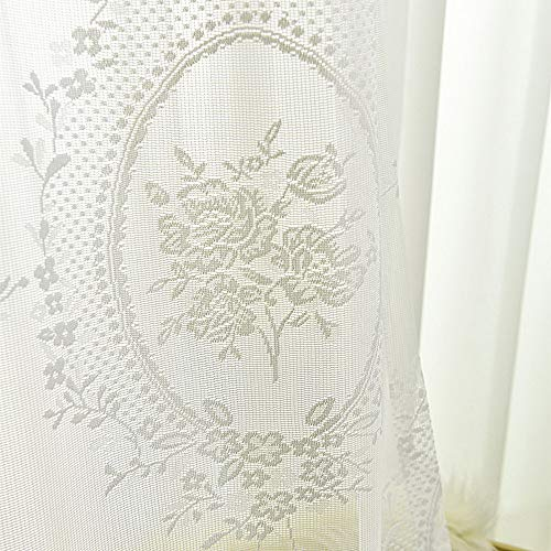 pureaqu White Lace Sheer Curtains 96 Inches Long Floral Patterned Voile Curtain Drapes for Girls Room Rod Pocket Curtain Window Tulle for Sliding Glass Door 1 Panel W52 x L96 Inch