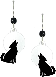 Black Wolf Howling at Moon Earrings 1457