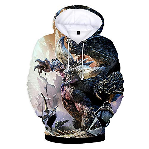 Kapuzenpullover Mode Unisex 3D Gedruckt Winter Casual Sweatshirt Langarm Hoodie Monster Hunter World Cat-A_XL