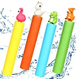 Gigilli Water Blaster Gun - 4 Pack Safe Foam Noodles Pump Action Outdoor Water Toy for Kids and Adults