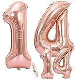 Globos Número 14 Cumpleaños Oro Rosa, Helio Globo de Papel Aluminio Gigante Número 14 en 2 Tamaños 40y 16 con Cinta   Set XXL 100cm + Mini 40cm   Cuatro Numeros   Ideal Decoración de Fiesta