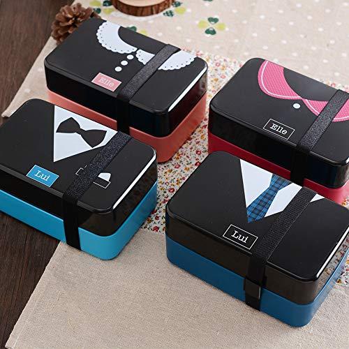 Leuke Cartoon Lunch Doos Voedsel Grade bento Lunchbox Kind Gezondheid Voedsel Container Magnetron Student Lunch Doos met Lepel-JEUGZE Blue Tie Lui