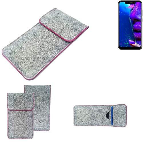 K-S-Trade Handy Schutz Hülle Für Allview Soul X5 Pro Schutzhülle Handyhülle Filztasche Pouch Tasche Hülle Sleeve Filzhülle Hellgrau Pinker Rand