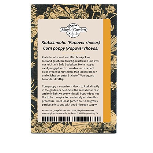 Klatschmohn (Papaver rhoeas) 300 Samen Feldmohn Mohnblume Feldrose Feuerblume