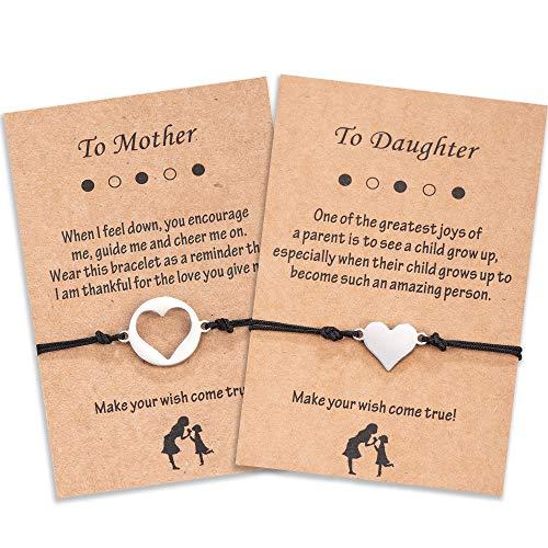 Seyaa Mother Daughter Bracelet Sets for 2 Back to School Gift Matching Cutout Heart Wish Bracelets...