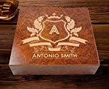 Personalized With Name and Initial 20 Count Burl Cigar Humidor | Luxurious Spanish Cedar Lining Cigar Humidifiers | Case Elegance Humidor Cigar Box | Cigars Gift Set For Men