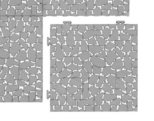 UPP Baldosas de jardín para exteriores, 30 x 30 cm, resistente a la intemperie, para balcón, jardín y terraza, instalación fácil y rápida [6 piezas, piedra]