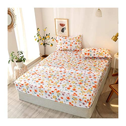 Juego de edredón King Tamaño Ropa de cama de lino Modelo grande Hoja de cama en forma de corazón-cama fijado for el colchón doble cubierta con elástico Sábana ( Color : Type 19 , Size : 90x200x25cm )