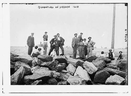 Historic Photographs, LLC Photo: Quarantined on Hoffman Island,Plague,1910-1915,People Standing on Rocks