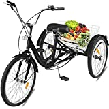 Black Tricycle 7 Speed Pedicab Trishaw Trike Wheel Carry Loading Capacity 330 Pound 3 Wheel 24 Inch Bicycle Exercise Shopping Sport Game Scooter Wagon Energy Large Rear Back Seat Basket Front Brake