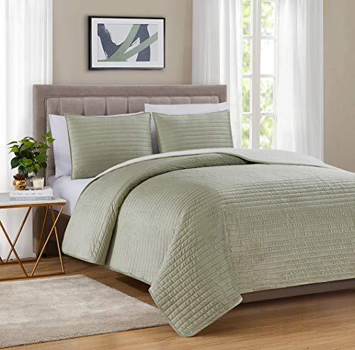 "Bourina Velvet Sherpa Blanket Quilt, Super Plush Quilt 3-Piece Bedding Large Double-Sided Plush Comfort Softest Quilt Sets, Queen 90×94"" Green"