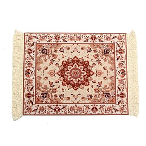CoCocina 28X18cm Perzische stijl Mini geweven tapijt muismat tapijt muts met franje