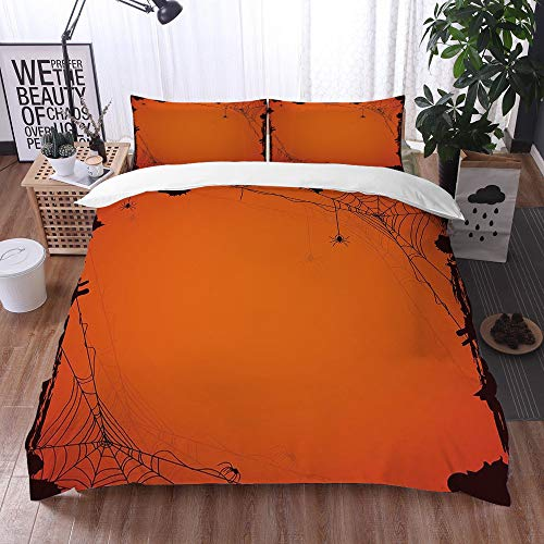 nologo bedding - Duvet Cover Set,Spider Web,Grunge Halloween Composition Scary Framework with Insects Abstract Cobweb,Orange Brown,Microfibre Duvet Cover Set 200 x 200 cm with 2 Pillowcase 50 X 75cm