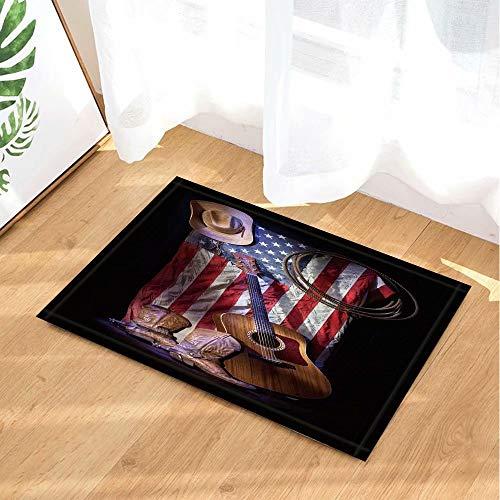 Western cowboy robe laarzen met gitaar op Amerikaanse vlag Kinderbadkamer tapijt toiletdeur mat woonkamer 40X60CM badkameraccessoires