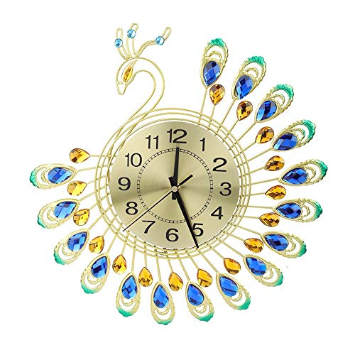 SOONHUA Reloj de pared moderno de hierro grande 3D forma de pavo real no hace tictac reloj silencioso para la decoración de la sala de estar