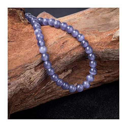 HETHYAN Cuentas redondas de piedra de ojo de gato de 4 a 12 mm, cuentas de ópalo sueltas para hacer joyas de 38 cm (color: morado, tamaño: 4 mm, 90 unidades)