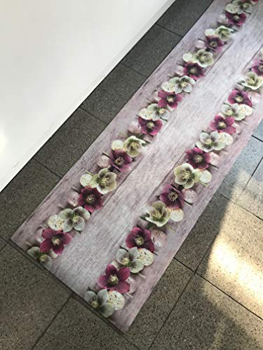 SpazioTessile Tappeto Cucina Stuoia Corsia Passatoia Gommato Digitale Fiori Bucaneve 10 Misure (52x280)